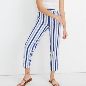 NWT Madewell High Rise Tapered Pants Blue Stripe